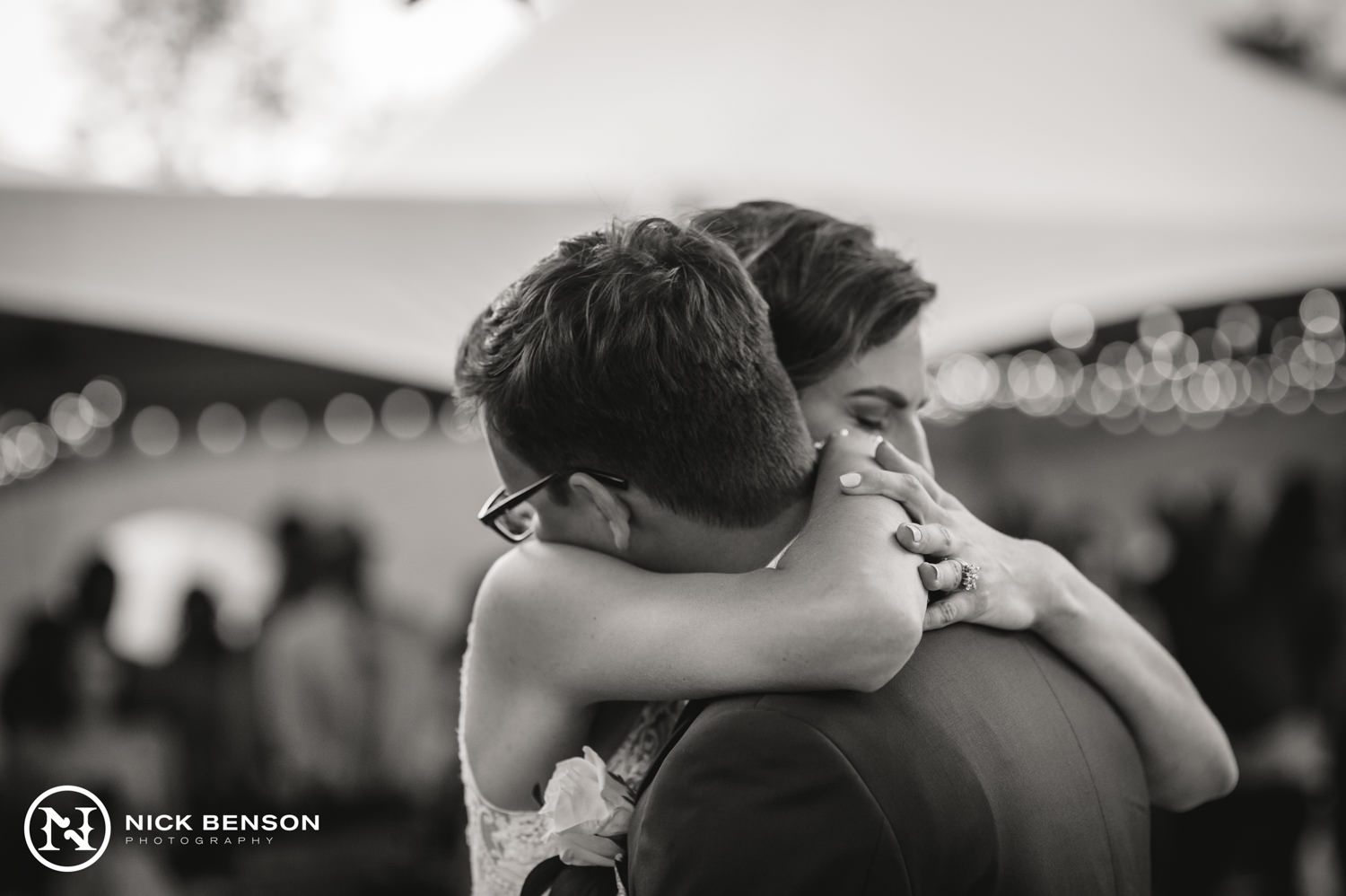 Intimate Connecticut Wedding, bride and groom hugging