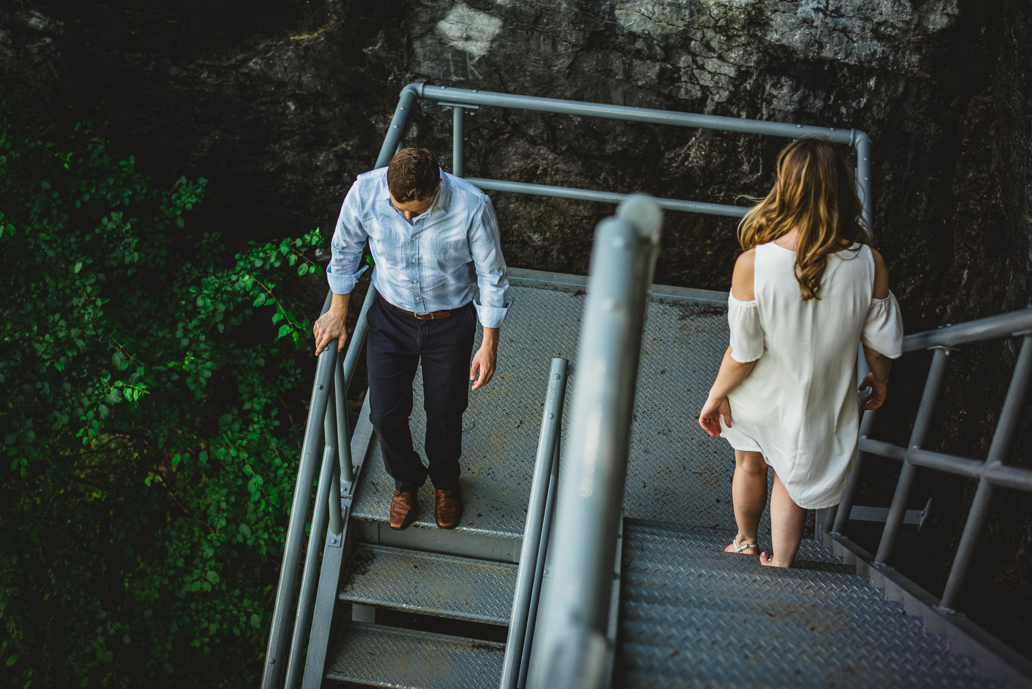 couple on stairs, engagement