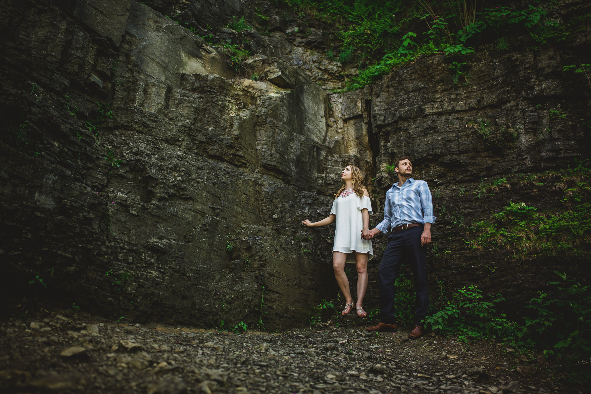 couple in nature, hiking, engagement session