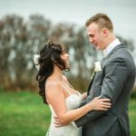 first look with bride and groom, branford house, groton connecticut